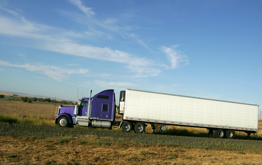 purple semi truck with white trailer viewed from the side